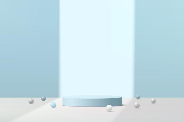 Podium de piédestal de cylindre 3d bleu clair abstrait avec boule de sphère blanche sur une scène de mur bleu dans l'ombre