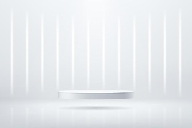 Podium de piédestal de cylindre d'argent 3d abstrait avec éclairage au néon rougeoyant vertical