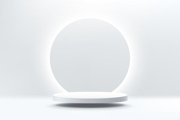 Podium de piédestal de cylindre d'argent 3d abstrait flottant dans l'air avec un fond d'anneau de néon rougeoyant