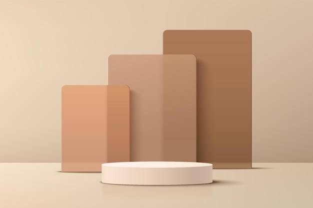 Podium de piédestal de cylindre beige 3d abstrait avec toile de fond de couches de chevauchement de verre carré marron