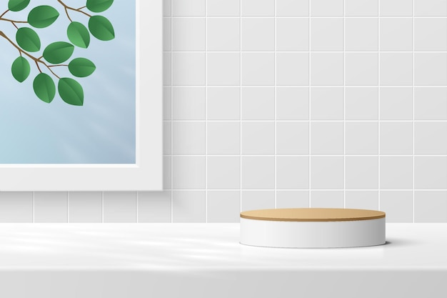 Podium de piédestal de cylindre blanc 3d abstrait avec feuille dans la fenêtre sur une scène de mur à motif de carreaux blancs