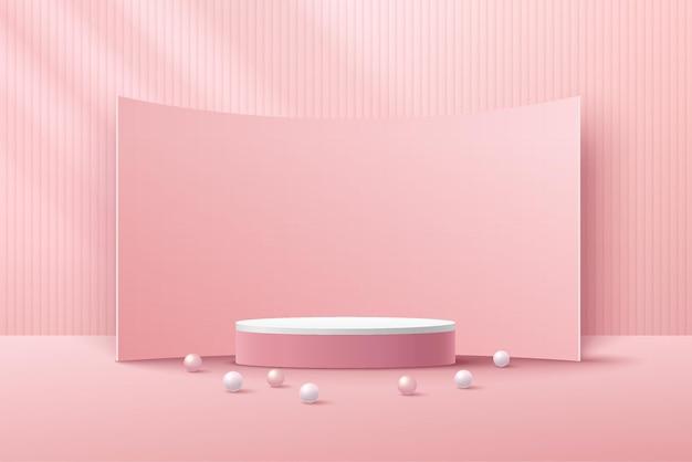 Podium de piédestal de cylindre blanc 3d abstrait avec motif à rayures verticales et toile de fond courbe