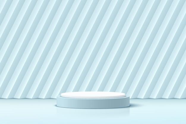 Podium de piédestal de cylindre blanc et bleu 3d réaliste abstrait avec fond rectangle oblique