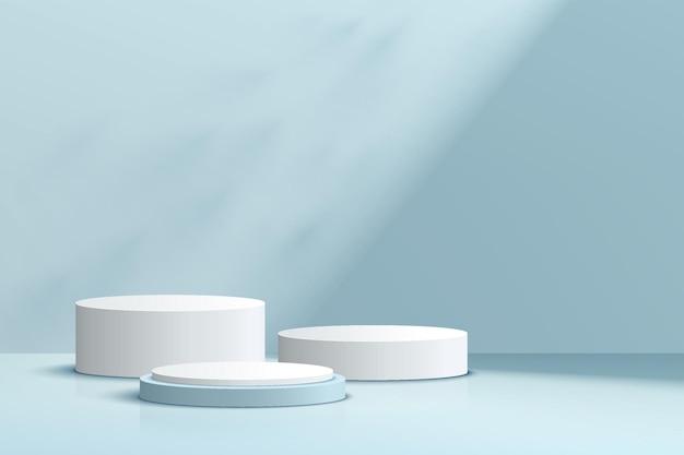 Podium de piédestal de cylindre blanc et bleu 3d réaliste abstrait serti d'ombre et d'éclairage