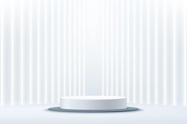 Podium de piédestal de cylindre blanc de rendu 3d abstrait avec tube néon vertical à perspective lumineuse