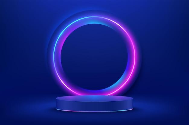 Podium de piédestal de cylindre bleu abstrait 3d avec éclairage au néon rougeoyant et cercle rouge