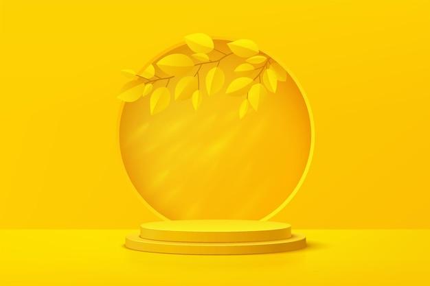 Podium de piédestal de cylindre jaune 3d réaliste abstrait avec feuille dans la fenêtre de cercle style de salle de studio