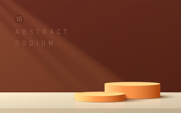 Podium de piédestal de cylindre orange foncé 3d abstrait avec scène de mur marron et beige avec éclairage