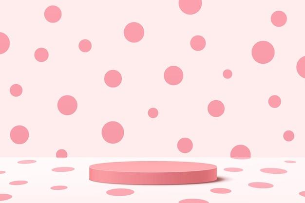 Podium de piédestal de cylindre rose doux 3d abstrait avec scène de mur à pois rose pastel sur salle blanche