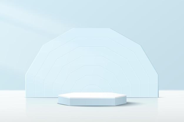 Podium de piédestal hexagonal 3d bleu blanc abstrait avec fond géométrique bleu et scène bleu pastel