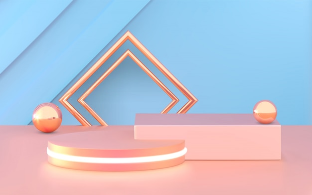 Podium, piédestal ou plateforme, fond cosmétique pour la présentation du produit.