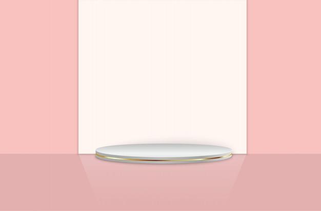 Podium et poutres sur fond de chambre studio rose, piédestal.