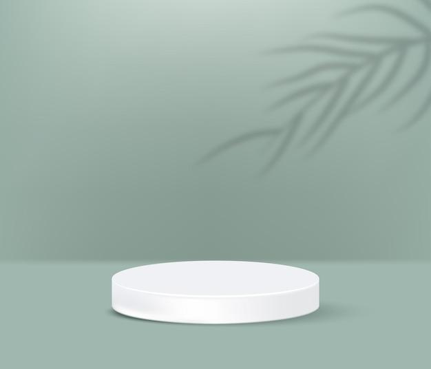 Podium de produit blanc avec ombre de palmiers tropicaux