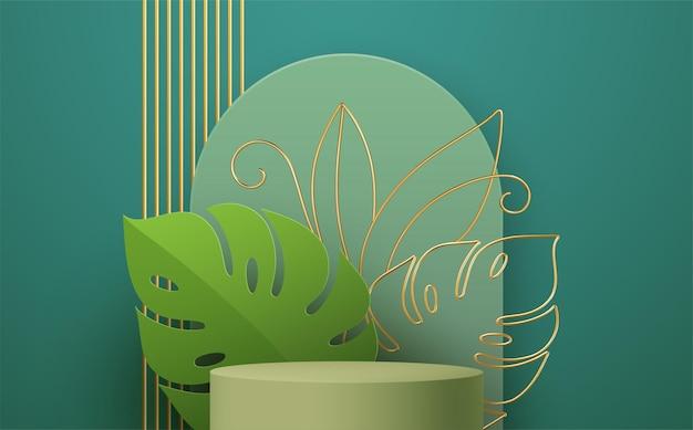 Podium de produit avec dessin au trait feuille de monstera doré sur fond vert