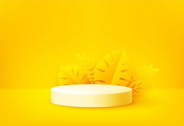 Podium de produit jaune vif entouré de feuilles de palmier tropical découpées en papier sur jaune