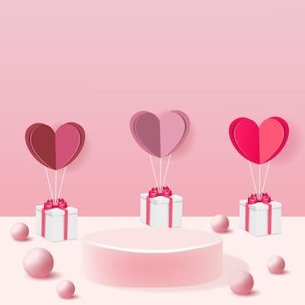 Podium publicitaire de produit avec des ballons d'amour de la saint-valentin