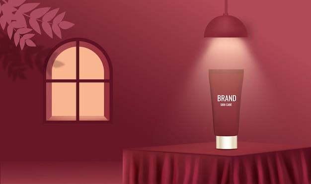Podium publicité de soins de la peau avec pot de crème sur scène couleur rouge