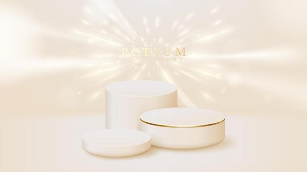 Podium réaliste avec fond d'effets de lumière néon doré, toile de fond de concept de style 3d de luxe. illustration vectorielle.