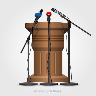 Podium réaliste avec microphones pour conférence