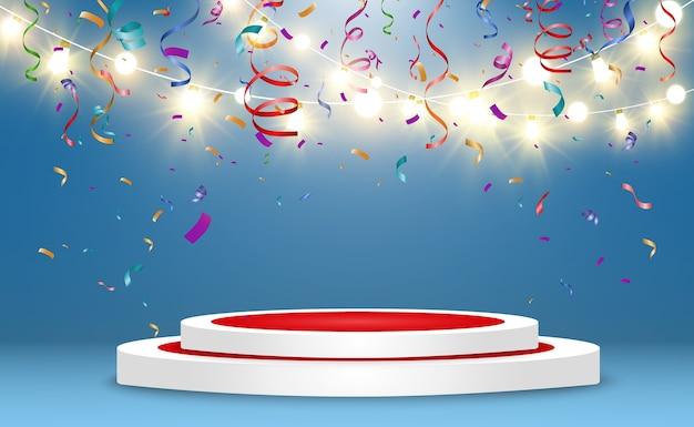 Podium réaliste ou plateforme des gagnants. piédestal avec des confettis sur fond blanc.