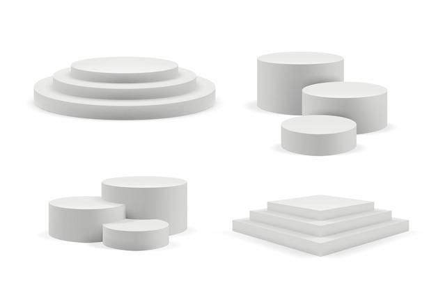 Podium réaliste. scènes vides rondes et carrées et escaliers de podium modèle 3d