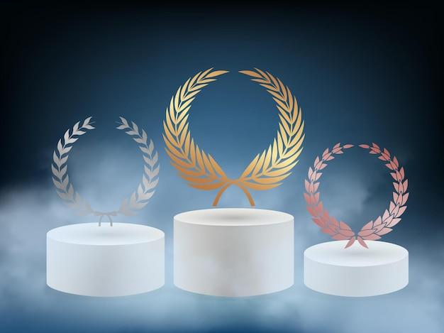 Podium de récompense réaliste. piédestal 3d avec fond de couronne de laurier bronze argent doré.