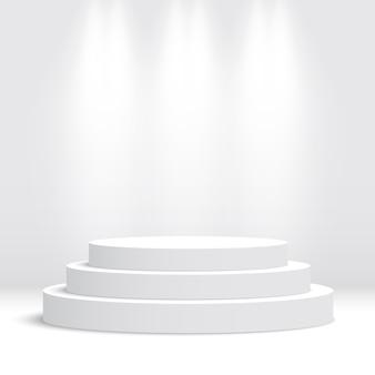 Podium rond blanc. piédestal. scène. illustration.