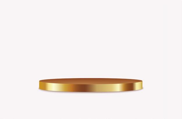 Podium rond doré, chapeau haut de forme réaliste, stand vide.