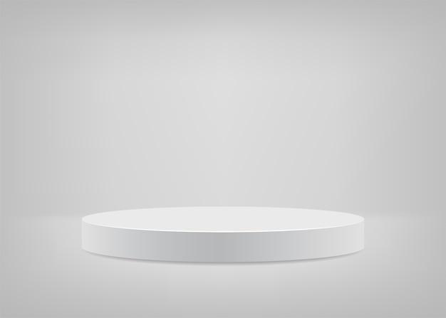 Podium rond fond blanc scène vide pour présentation.
