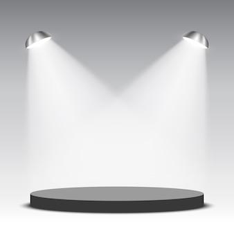 Podium rond noir avec projecteurs. piédestal. illustration.