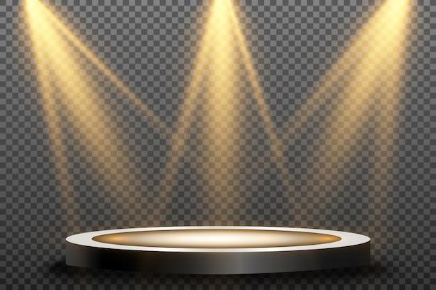 Podium rond, piédestal ou plate-forme, éclairé par des projecteurs. lumière brillante. lumière d'en haut.