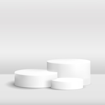 Podium rond réaliste pour démonstration de produit plate-forme de cylindre avec effet de superposition d'ombre tropicale fond bleu