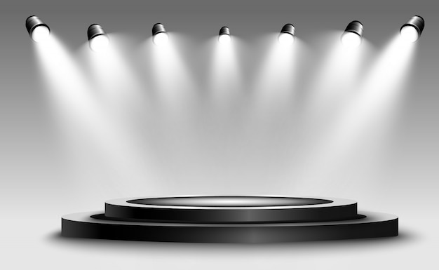 Podium rond, socle ou plateforme, éclairé par des projecteurs en arrière-plan. illustration. lumière brillante. lumière d'en haut. lieu publicitaire