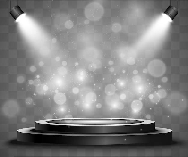 Podium rond, socle ou plateforme, éclairé par des projecteurs en arrière-plan. illustration. lumière brillante. lumière d'en haut.