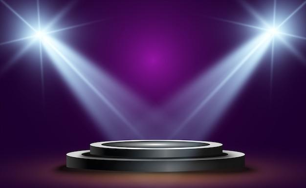 Podium rond, socle ou plateforme, éclairé par des projecteurs en arrière-plan. lumière brillante. lumière d'en haut. lieu publicitaire
