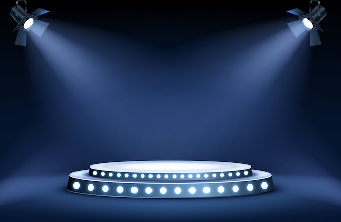 Podium rond sous les projecteurs