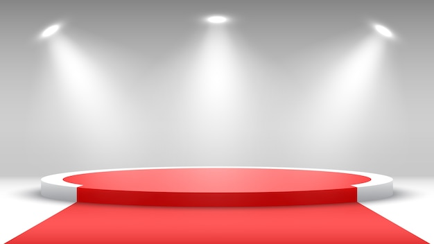 Podium rond avec tapis rouge. piédestal avec projecteurs.