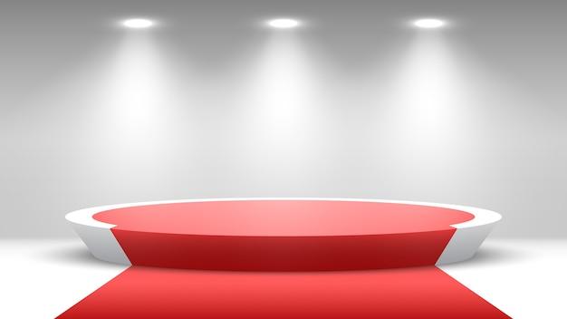 Podium rond avec tapis rouge piédestal avec projecteurs