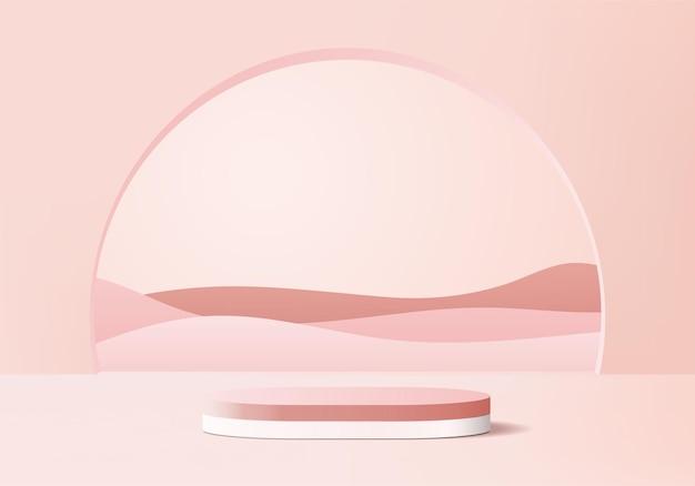 Podium rose minimal et scène avec rendu 3d dans une composition abstraite au fond
