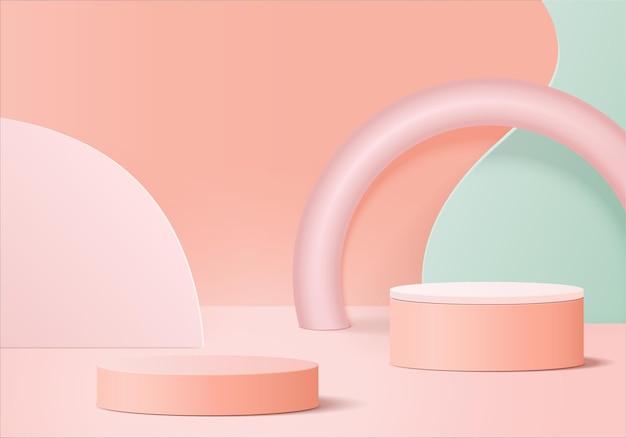 Podium rose minimal et scène avec vecteur de rendu 3d dans une composition abstraite d'arrière-plan, illustration 3d simulant des formes de plate-forme de forme géométrique de scène pour l'affichage du produit. scène pour le produit dans le moderne.