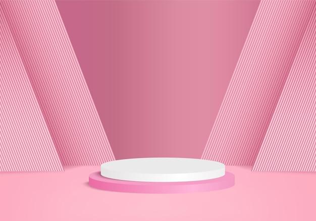 Podium rose minimal et scène avec vecteur de rendu 3d dans la composition abstraite de fond