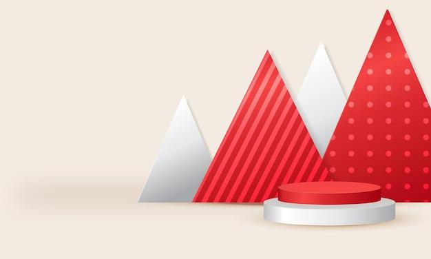Podium rouge et blanc minimal pour la vitrine du produit vecteur de scène réaliste