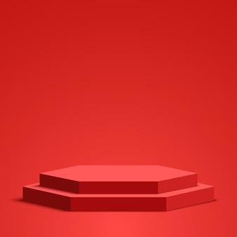 Podium rouge piédestal scène hexagonale vector illustration