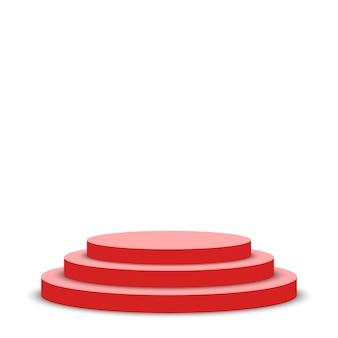 Podium rouge. piédestal. scène.