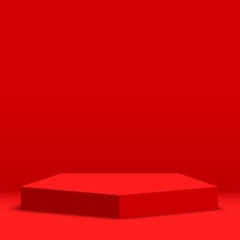Podium rouge. piédestal.