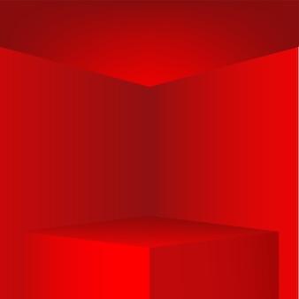 Podium rouge pour place produit, illustration vectorielle