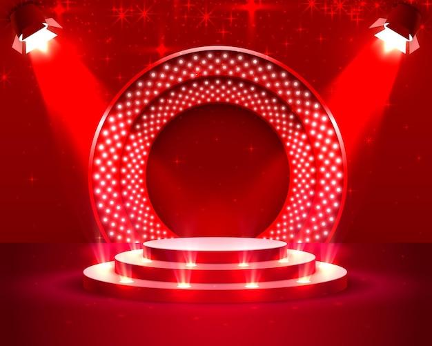 Podium de scène avec éclairage, scène de podium avec pour la cérémonie de remise des prix sur fond rouge, illustration vectorielle
