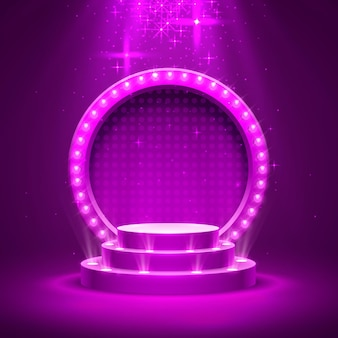 Podium de scène avec éclairage, scène de podium avec pour la cérémonie de remise des prix sur fond violet, illustration vectorielle