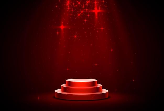 Podium de scène avec éclairage, scène de podium de scène avec cérémonie de remise des prix sur fond rouge
