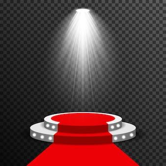 Podium de scène illuminé avec le vecteur tapis rouge transparent